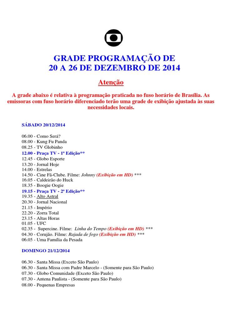 Grade De Programacao Globo Tv Lazer