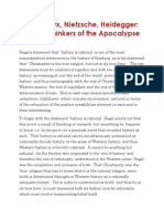 Hegel Marx Nietzsche Heidegger The Four Thinkers of the 'Apocalypse'