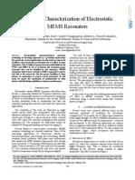 Nonlinear Characterization of Electrostatic MEMS Resonators-2005