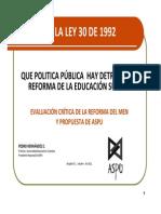Qué Política Pública Hay Detrás de La Reforma de La Educación Superior