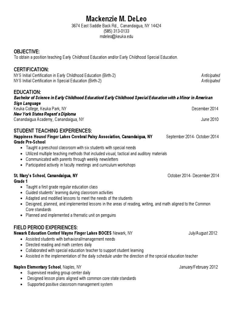 Resume 1 Special Education Early Childhood Education