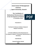 Thesis The Contribution of Multinational Pharmaceutical Companies In the Development of Pakistan Economy