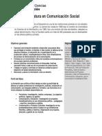 Plan de Estudios Licenciatura y Tecnicatura en Comunicación Social