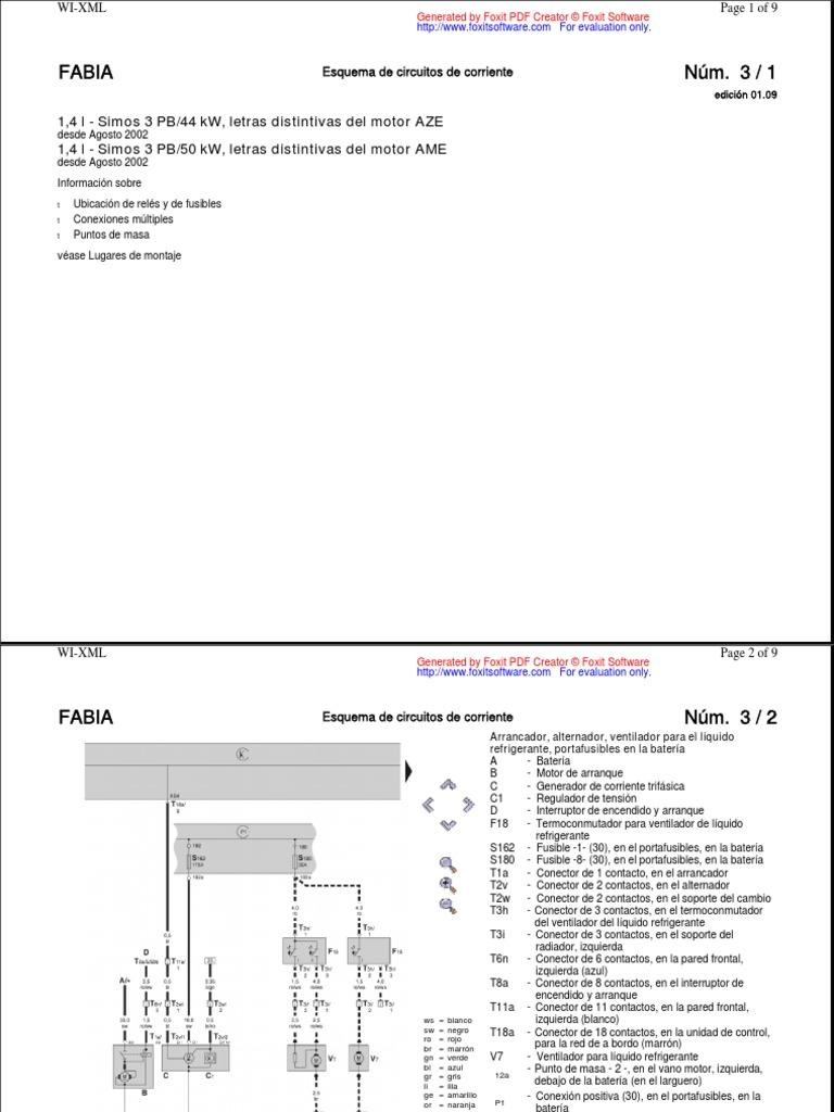 diagrama de carro skoda fabia