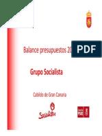 BALANCE PRESUPUESTOS 2015-CABILDO DE GRAN CANARIA-GRUPO SOCIALISTA