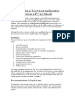 Application of Motivation and Incentive Systems at Private Schools
