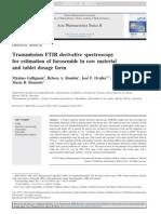 ArtícTransmission FTIR derivative spectroscopy for estimation of furosemide in raw material and tablet dosage form