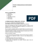 Proceso de Constitucion y Formalizacion de Un Restaurante