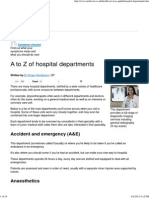 A to Z of Hospital Departments