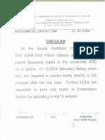 III-IV b.e-b.Tech I-sem Sessional Marks Circular