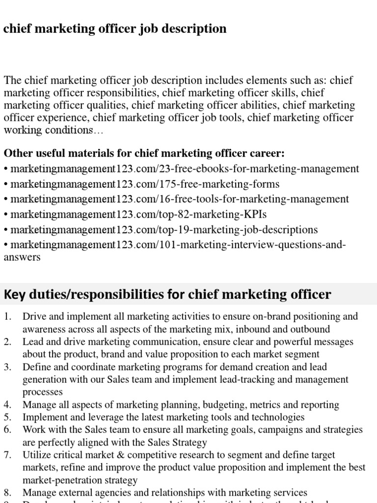 Chief Marketing Officer Job Description | Marketing | Strategic Management