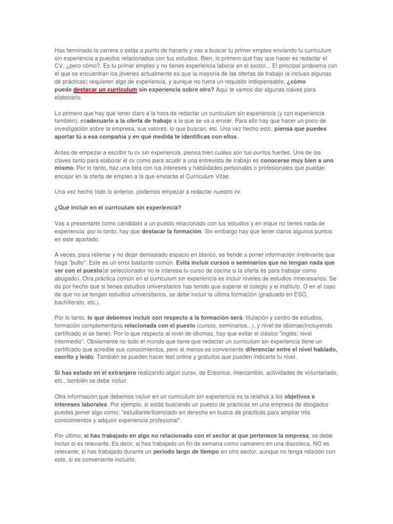 Magnífico Prácticas Currículum Sin Experiencia Colección - Ejemplo ...