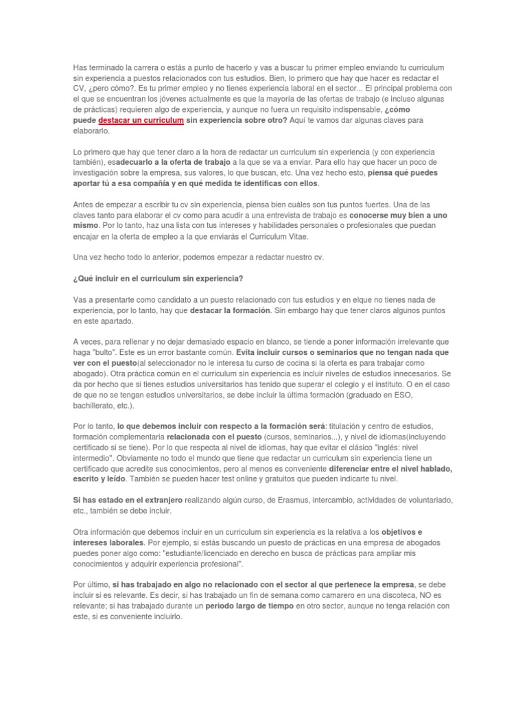 Snap Único Plantillas De Currículum Sin Experiencia Secundaria ...
