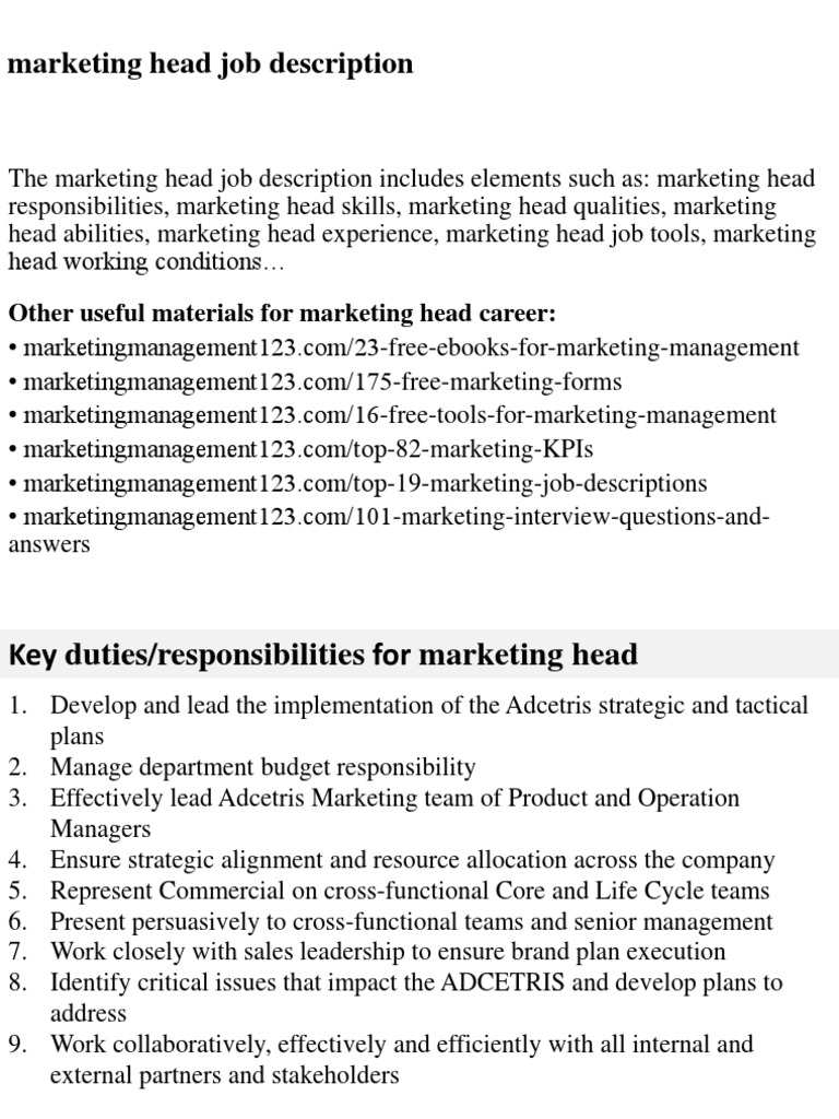 Marketing Head Job Description | Marketing | Recruitment