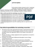 Marketing Researcher Job Description
