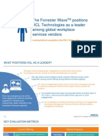 The Forrester Wave positions HCL Technologies as a leader among Global Workplace Services Vendors