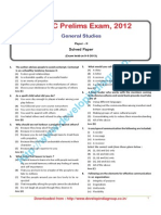 CGPSC Prelims Exam., 2012 General Studies (Paper-II) Solved Paper