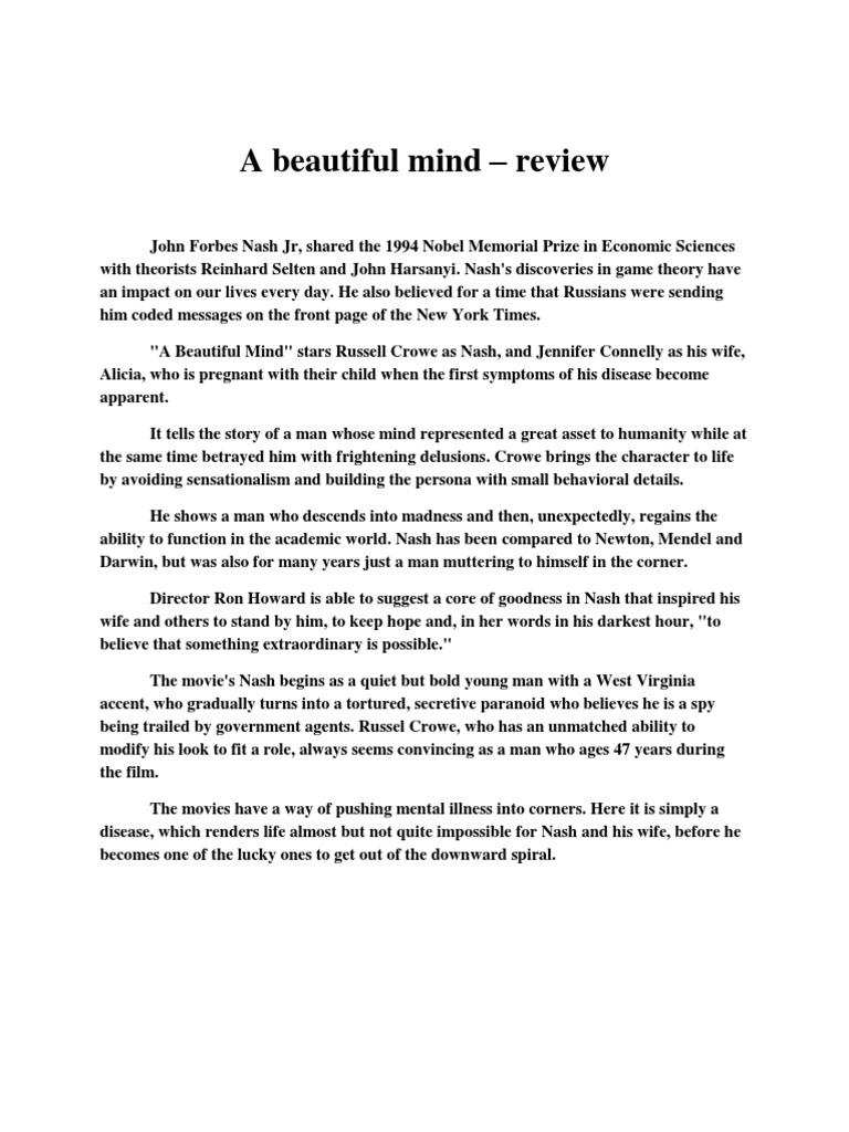 a beautiful mind movie summary