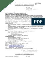 Recruitment Announcement 2010