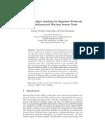 Energy Budget Analysis for Signature Protocols on a Self-powered Wireless Sensor Node