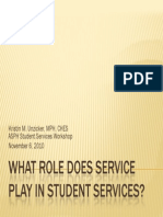 what role does service play in student services