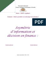 Asymétrie d'Information Et Décision en Finance