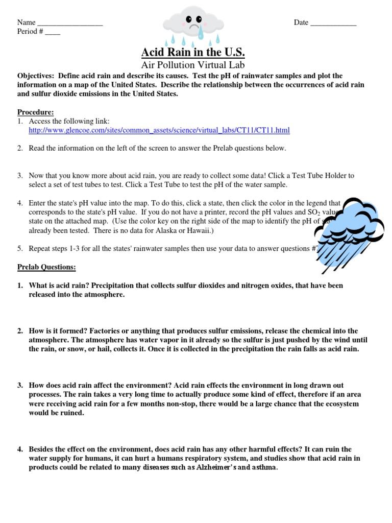 Acid Rain Virtual Lab Worksheet Air Pollution Rain