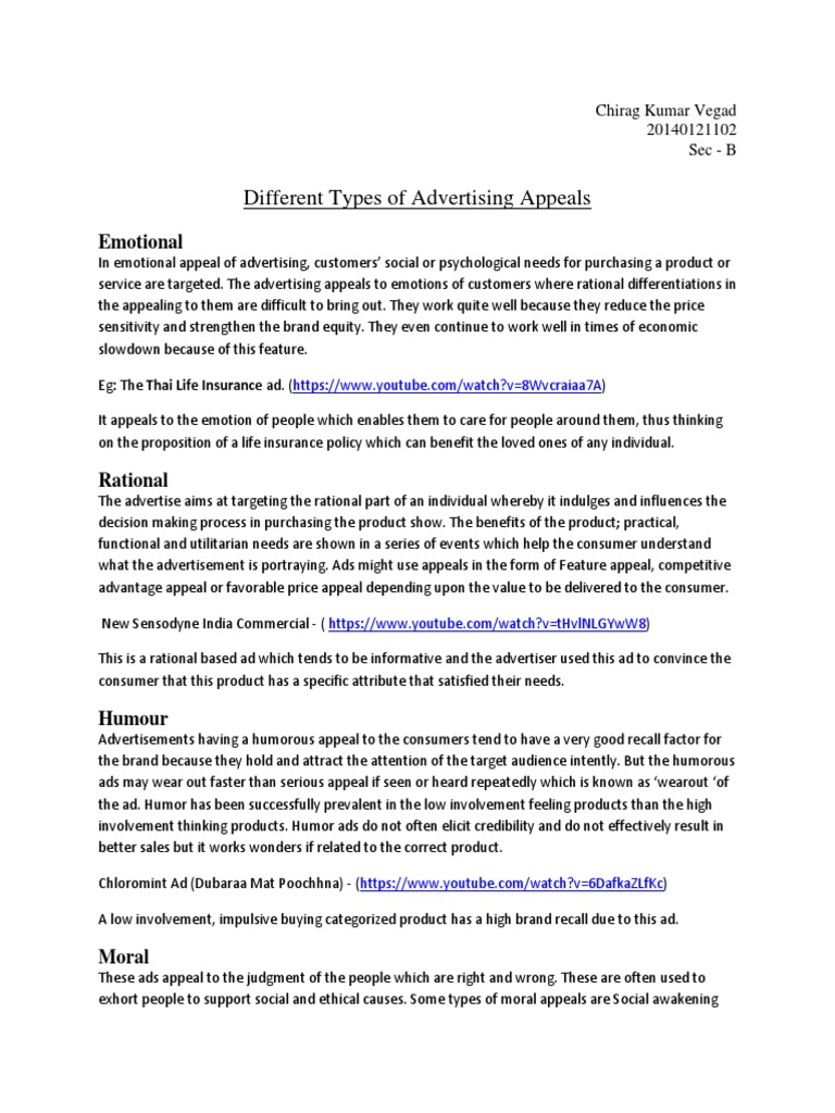 different types of advertising appeals ad