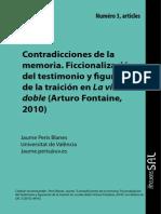 Contradicciones de La Memoria Ficcionalización Del Testimonio y Figuración de La Traición en La Vida Doble (2013) - Peris Blanes