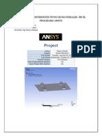 Analisis Con Diferentes Tipos de Materiales en El Programa Ansys