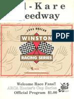 1993 Kil-Kare Speedway Nascar Winston Racing Series Race Program ARCA Edition