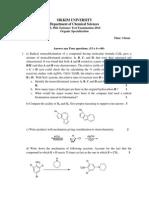 M. Phil Entrance Question 2014-Chemistry