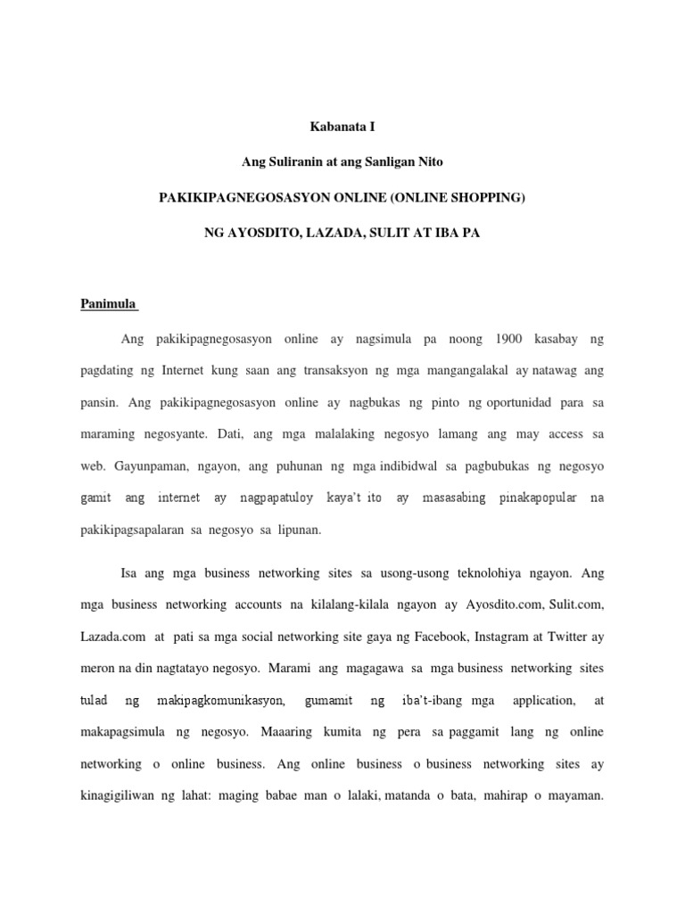thesis sa filipino tungkol sa pagnenegosyo