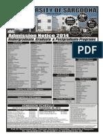 Admission Notice UOS 2014