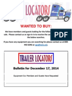 Wanted to Buy Bulletin - December 17, 2014