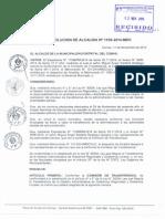Resolución de Municipalidad de Comas para formación de Comisión de transferencia 2014