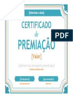 Certificado de Premiação
