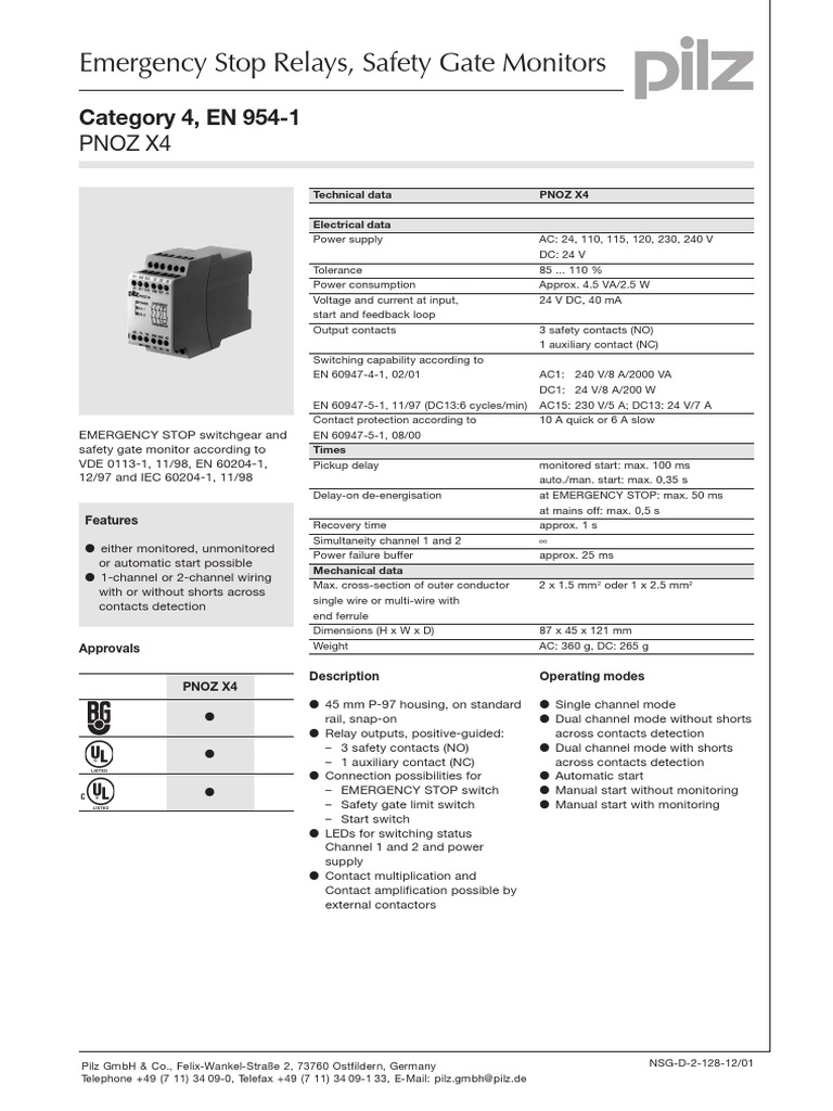 Pnoz X4 Cat4 En954 1 Relay Switch