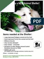 Shelton Animal Shelter Flier