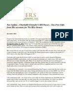 Tax Update - Charitable Extender's Bill Passes - Gevers Wealth Management LLC December 2014
