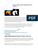 Leadership Change at Apple and Its Implications on Organisational Culture