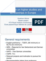 Information on Higher Studies and Scholarships in Europe