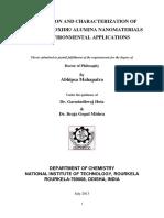 FABRICATION AND CHARACTERIZATION OF NOVEL IRON OXIDE/ ALUMINA NANOMATERIALS FOR ENVIRONMENTAL APPLICATIONS