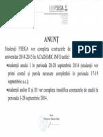 Anunt Ref. La Completarea Contractelor de Studii -2014-2015