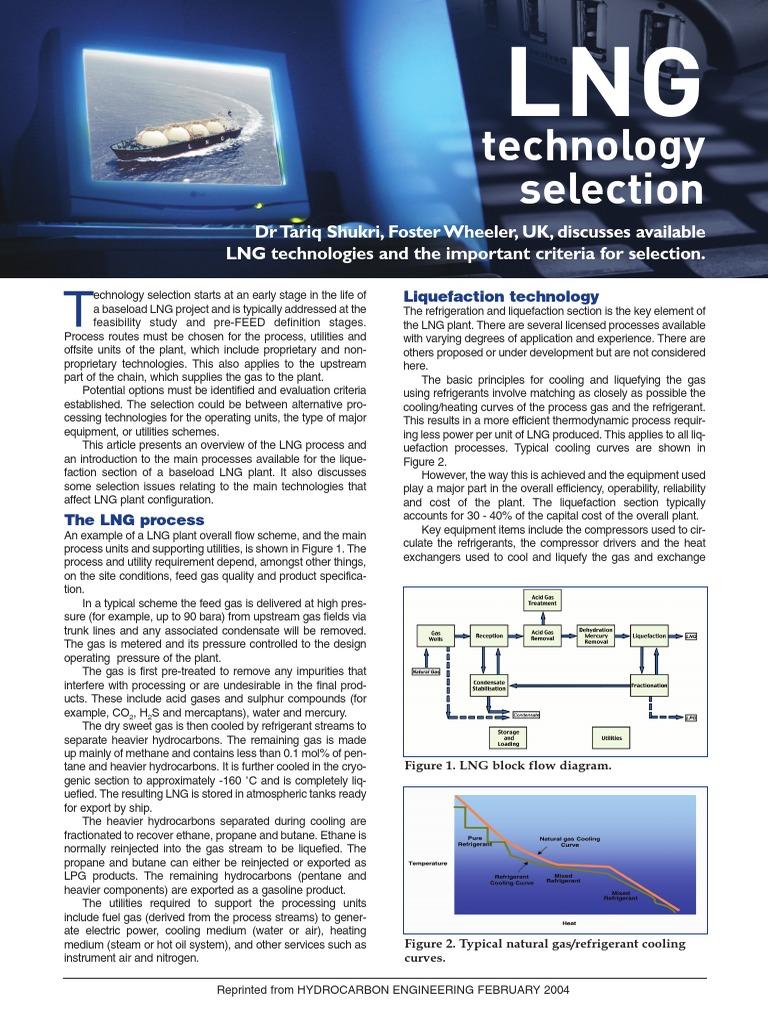 Lng Selection Natural Gas Liquefied Process Flow Diagram Plant