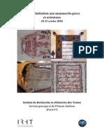 Initiation Aux Manuscrits Grecs Et Orientaux