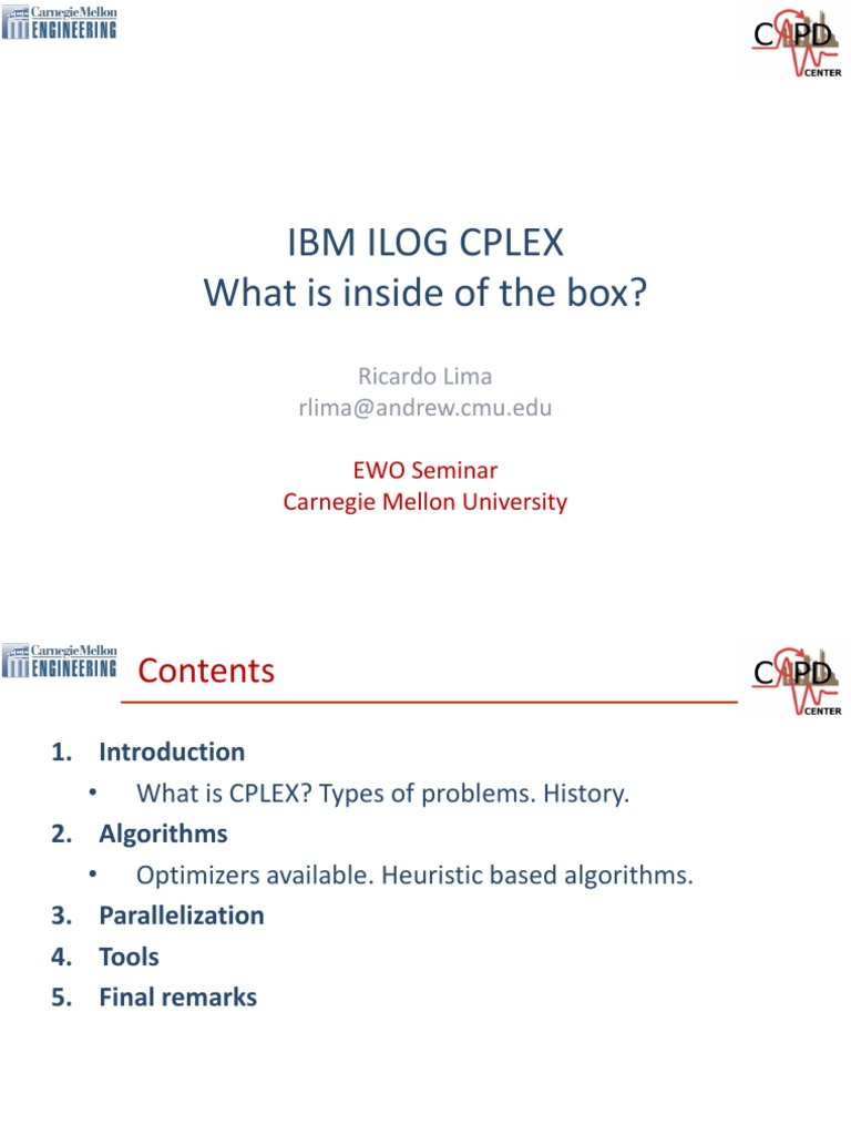 IBM ILOG CPLEX What is Inside of the Box   Linear Programming    Mathematical Optimization