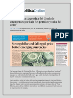 El Impacto en Argentina Del Crash de Emergentes Por Baja Del Petróleo y Suba Del Dólar