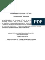 Listas Extraordinarias de Inglés y Portugués - Excluidos Provisionales Inglés y Portugués Secundaria