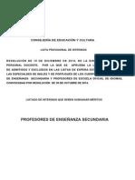 Listas Extraordinarias de Inglés y Portugués - Interinos de Secundaria Que Deben Subsanar Méritos